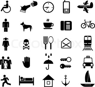 Set of vector pictograms Black icons on white Simple pictures of people and objects