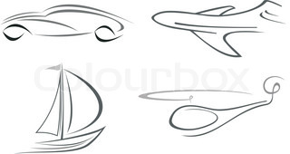 Set of vector icons - airliner, helicopter, vehicle and boat
