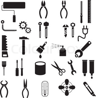 Hand tools - set of vector icons Isolated symbols on white background