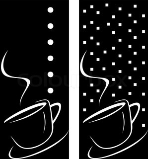 Vector stylized image of coffee cup The cup of coffee on dark brown background - stylized image Illustration can be used to design menu restaurant or cafe