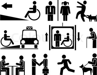 People - set of vector pictograms Black icons on white background
