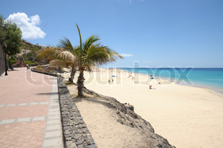 Promenade and beach at Morro Jable, Canary Island Fuerteventura, Spain
