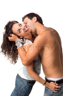 Man kissing his girlfriend in the neck
