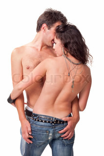 Young couple embrace each other with tenderness