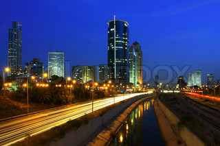 Tel Aviv downtown and Ayalon freeway at night.