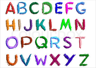 Crayon alphabet over white background