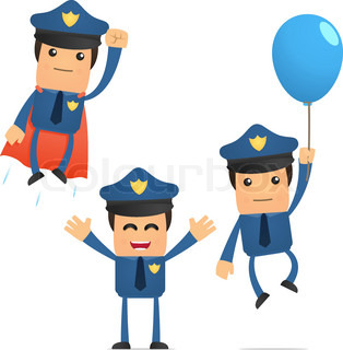 set of funny cartoon policeman in various poses for use in presentations, etc