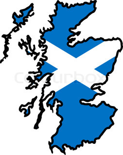 map in colors of Scotland