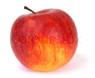 Big red-yelow delicious apple isolated on white background