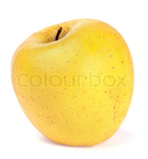 Big yellow delicious apple isolated on white background
