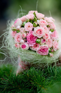 Wedding bouquet with pink roses on pine brahch