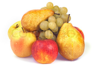 Group of wet autumn fruits (grapes, apples, pears)isolated on white background