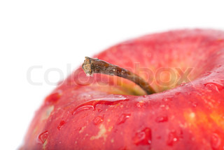 Part of big wet red apple (closeup with stem)