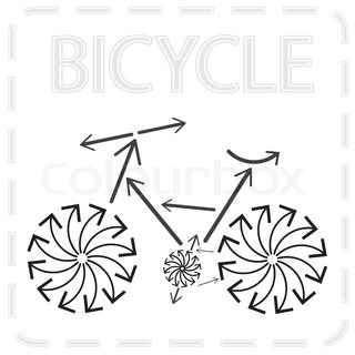 bicycle from arrows abstract sport illustration