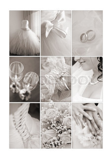 Wedding collage in sepia