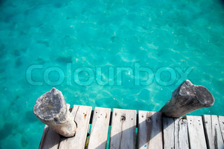 view from above of wooden pier
