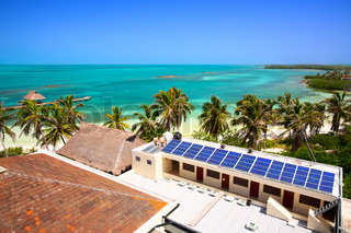 building with a solar panel on the Isla Contoy, Mexico