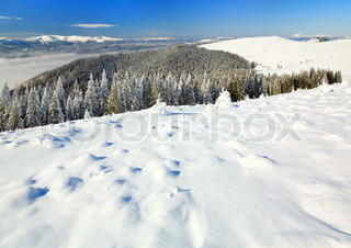 winter calm mountain landscape (view from Bukovel ski resort (Ukraine) to Svydovets ridge)