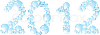 water bubbles letters 2012 isolated on white