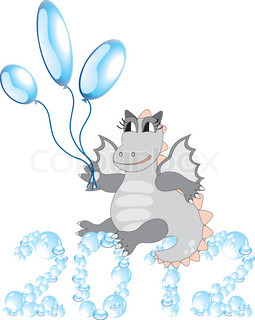 Cartoon dragon with balloons sitting on bubbles 2012