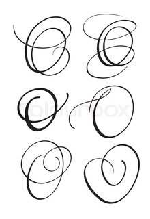 Set Of Art Calligraphy Letter O With Flourish Vintage Decorative Whorls Vector Illustration EPS10