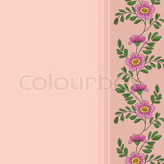 floral background, frame of pink flowers and green leafs