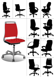 Big set Illustrations of office chairs isolated on white background