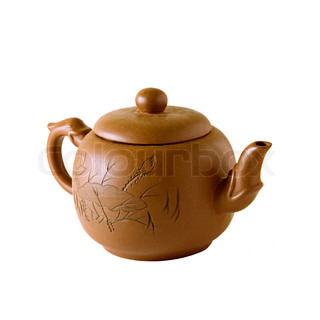 Brown ceramic chinese teapot isolated over white