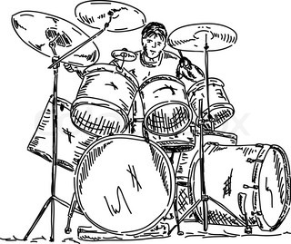 vector - drummer playing isolated on background