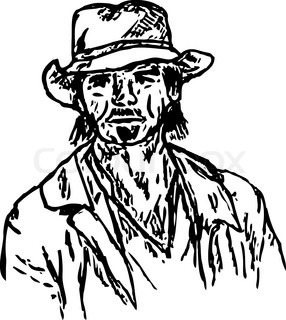 vector - portrait of a bearded old cowboy
