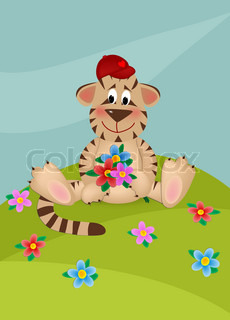 Cartoon tiger cub on the lawn with bouquet of flowers