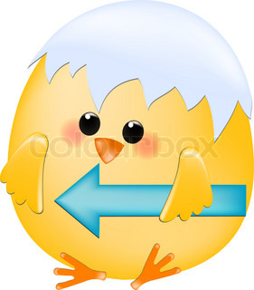 Vector chick with arrow guiding to the left