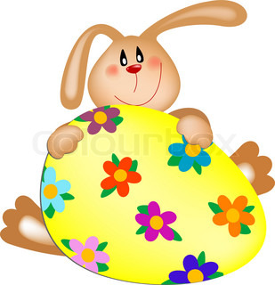 Vector easter bunny with a painted egg