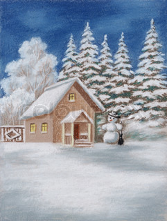 House in winter Forest and snowman