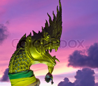 Oriental Traditional Golden Dragon In Thailand