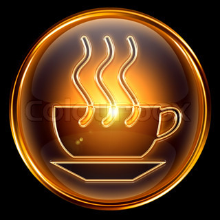 Coffee cup icon gold, isolated on black background