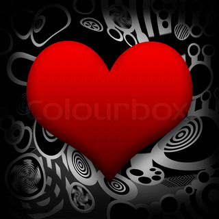 Big red heart and melting metal on abstract black background