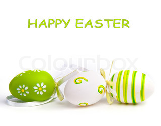Painted Colorful Easter Egg on white background
