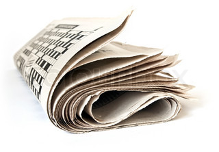 Fold up a newspaper isolated on white background