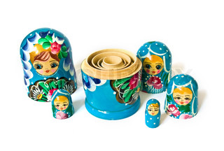 Russian dolls isolated on a white background