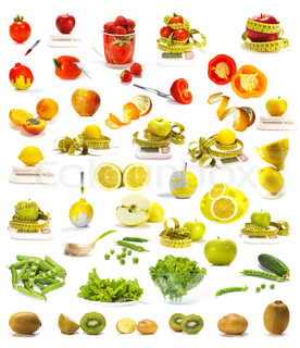 Vegetables and fruits collection isolated on white background