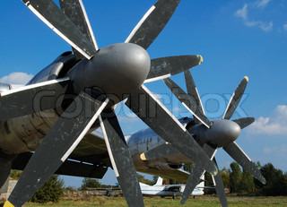 propellers of large airplane