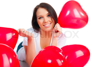 Cute young girl with a red hearts over white
