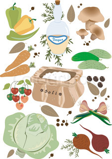 Vegetables and spices  for pickling or salting.