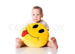 Cute little boy with the smiley on white background