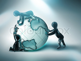 three cartoon person rolling the world on light background