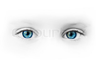 beautiful blue eyes of the little girl