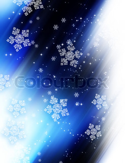 Modern winter blue background with white snowflakes