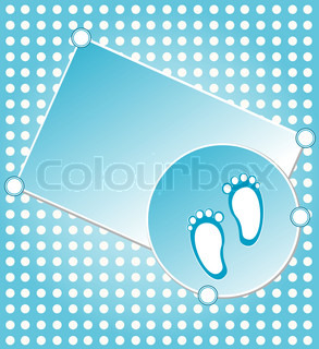 baby boy announcement greeting card vector illustration