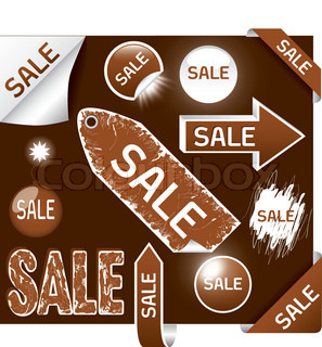 set of sale labels - brown and white colors, EPS10